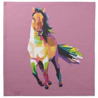 Colorful Running Horse Stallion Equestrian Napkin