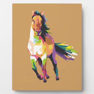 Colorful Running Horse Stallion Equestrian Plaque