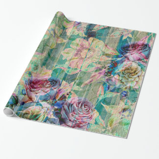 Colorful Rustic Flowers Pattern Wrapping Paper