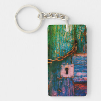 Colorful rustic, wood door keychain