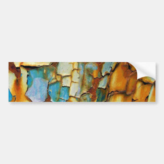 Colorful rusty old paint bumper sticker