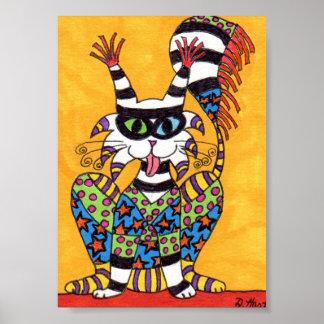 Colorful Sacred Clown Cat Mini Folk Art Poster
