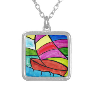 Colorful Sail Silver Plated Necklace