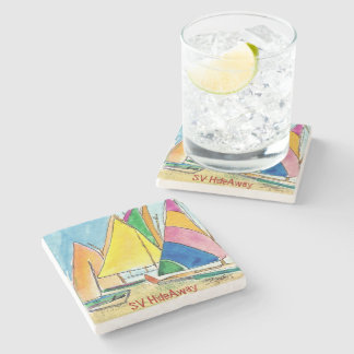 Colorful Sailboat Stone Coaster Original Art