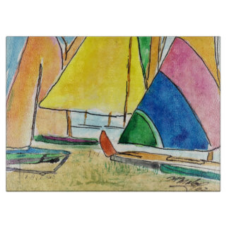 Colorful Sailboats On Beach Cutting Board