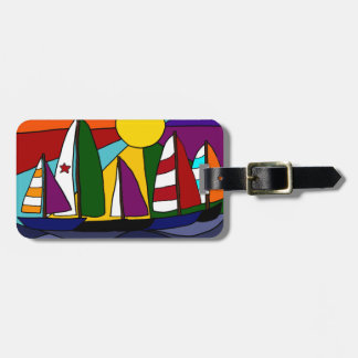 Colorful Sailing Rainbow Art  Design Luggage Tag