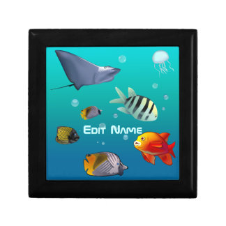 Colorful Saltwater Creatures Small Square Gift Box