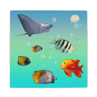 Colorful Saltwater Creatures Wood Coaster