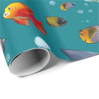Colorful Saltwater Fish Cartoon Wrapping Paper