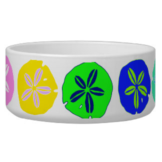 Colorful Sand Dollar Art Pet Food Bowl