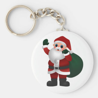 Colorful Santa Claus Holding Bag of Toys & Waving Keychains