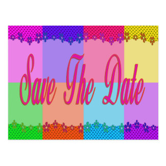 Colorful Save the Date Post Card