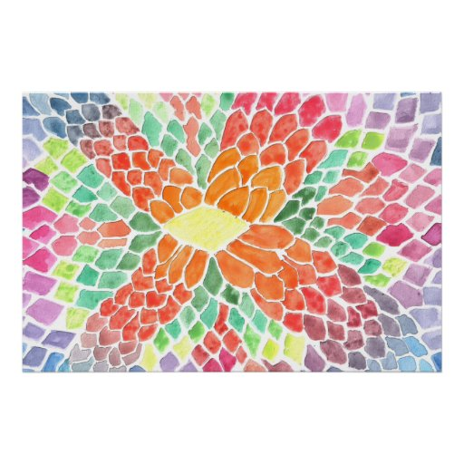 Colorful Scales - vivid abstract watercolor design Poster