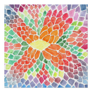 Colorful Scales - vivid abstract watercolor design Posters