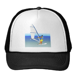 Colorful Scene of a Man Windsurfing on the Water Mesh Hat
