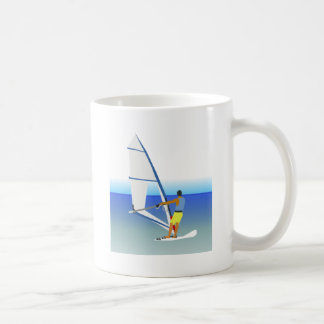 Colorful Scene of a Man Windsurfing on the Water Mug