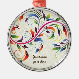 Colorful scroll leaf, ecru floral retro ornament