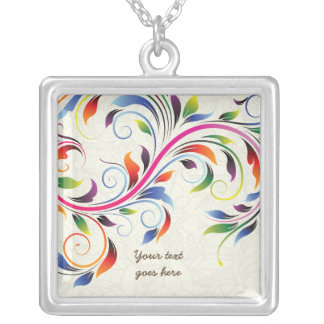 Colorful scroll leaf, ecru floral silver necklace