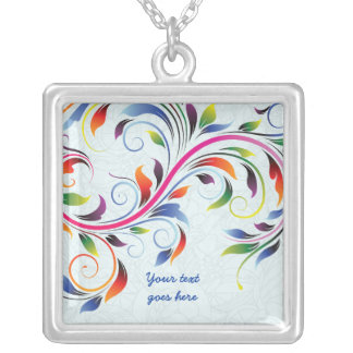 Colorful scroll leaf, pale blue silver necklace