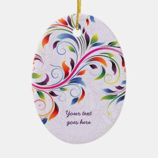 Colorful scroll leaf, purple floral retro ornament