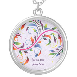 Colorful scroll leaf purple floral silver necklace
