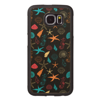 Colorful Sea Creatures Wood Phone Case