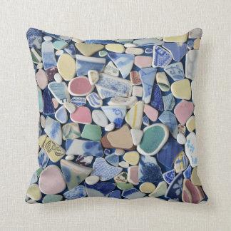 Colorful sea glass beach pottery photo square cushion