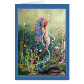 Colorful Sea Horse and Pearls Card