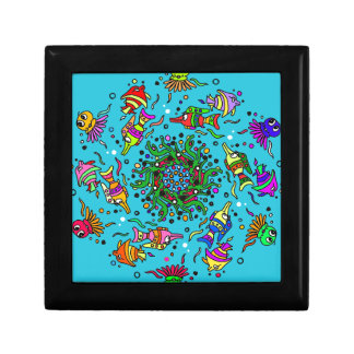colorful sea life  art design gift box