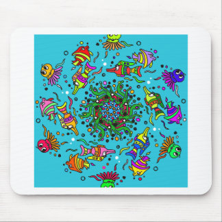 colorful sea life  art design mouse pad