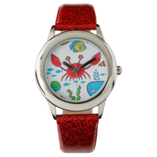 Colorful Sea-life Illustration Pattern Watch
