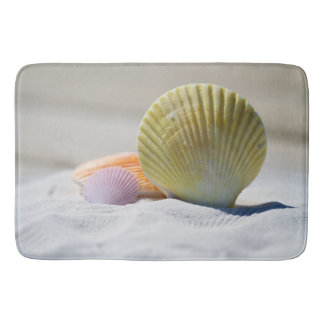 Colorful Seashells in the Sand Bath Mat