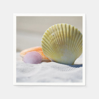Colorful Seashells in the Sand Disposable Serviette