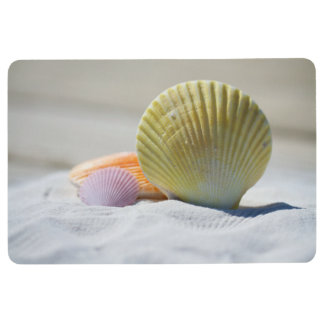 Colorful Seashells in the Sand Floor Mat