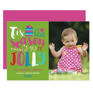 Colorful Season to be Jolly Christmas Photo Card