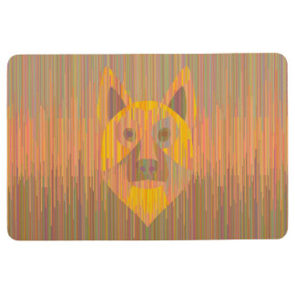 Colorful serious yellow dog mat