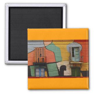 Colorful Shacks Buenes Aires Argentina Square Magnet