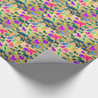 Colorful Shadow Dogs Wrapping Paper