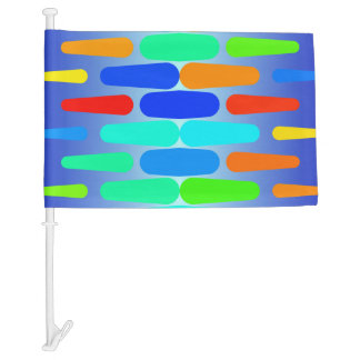 Colorful shapes abstract design car flag