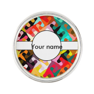 Colorful shapes abstract design lapel pin