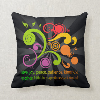 Colorful Shapes Fruit of the Spirit Throw Pillows