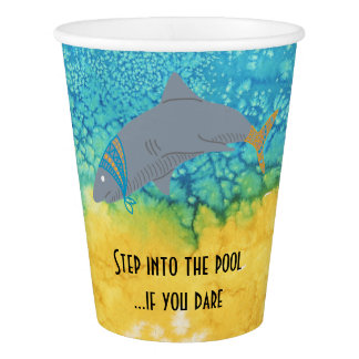 Colorful Shark Turquoise Water Pool Paper Cup