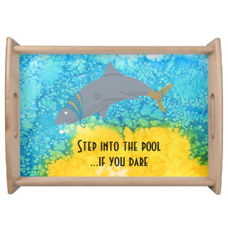 Colorful Shark Turquoise Water Pool Serving Tray