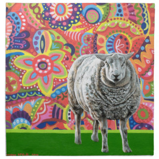 Colorful Sheep Art Cloth Napkins Set of 4