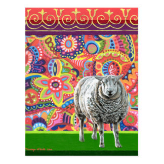 Colorful Sheep Art Postcard