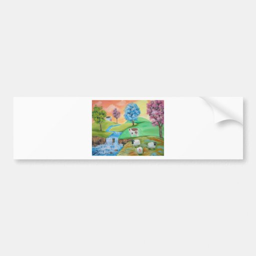 COLORFUL SHEEP COWS FOLK PAINTING BUMPER STICKER