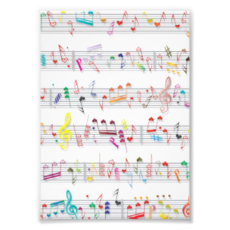 Colorful Sheet Music Notes Photo Print