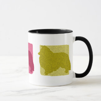 Colorful Sheltie Silhouettes Mug