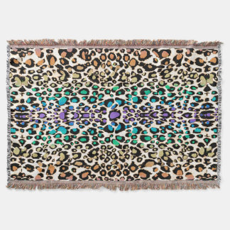 Colorful Show Off Leopard Animal Print Blanket