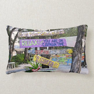 COLORFUL SIGNS AT RUM POINT, GR.CAYMAN LUMBAR CUSHION